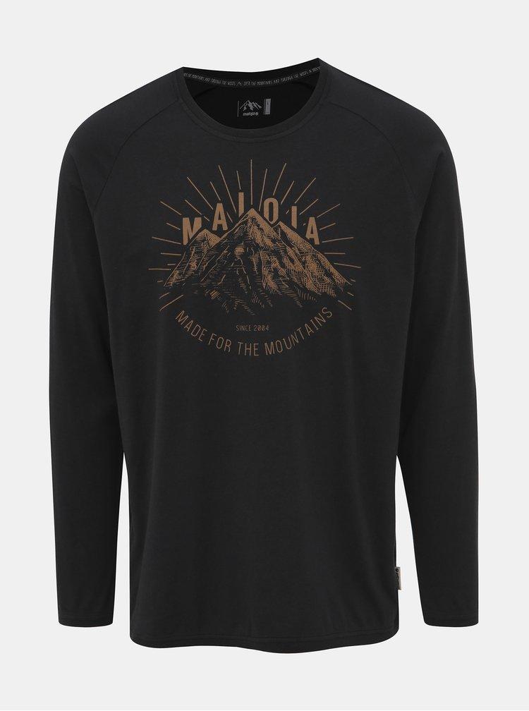 Černé pánské tričko s potiskem Maloja Giandains