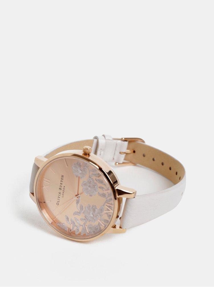 Dámske hodinky so svetlošedým koženým remienkom Olivia Burton