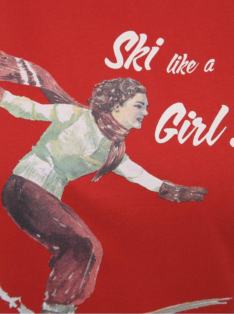 Červené dámské tričko s potiskem Maloja Tola