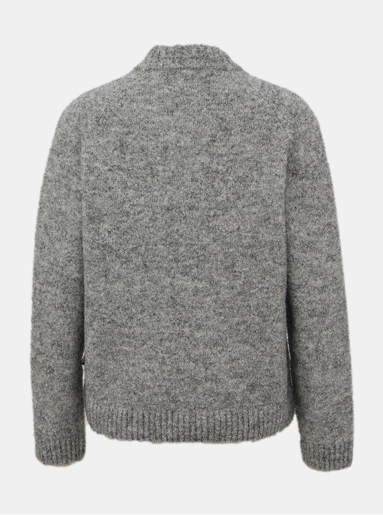 Šedý dámský vzorovaný vlněný svetr Maloja Gueglia