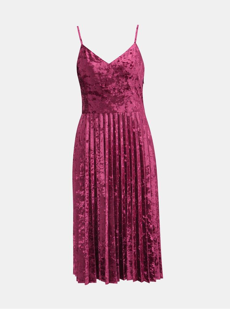 Rúžové sametové šaty s plisovanou sukňou Dorothy Perkins