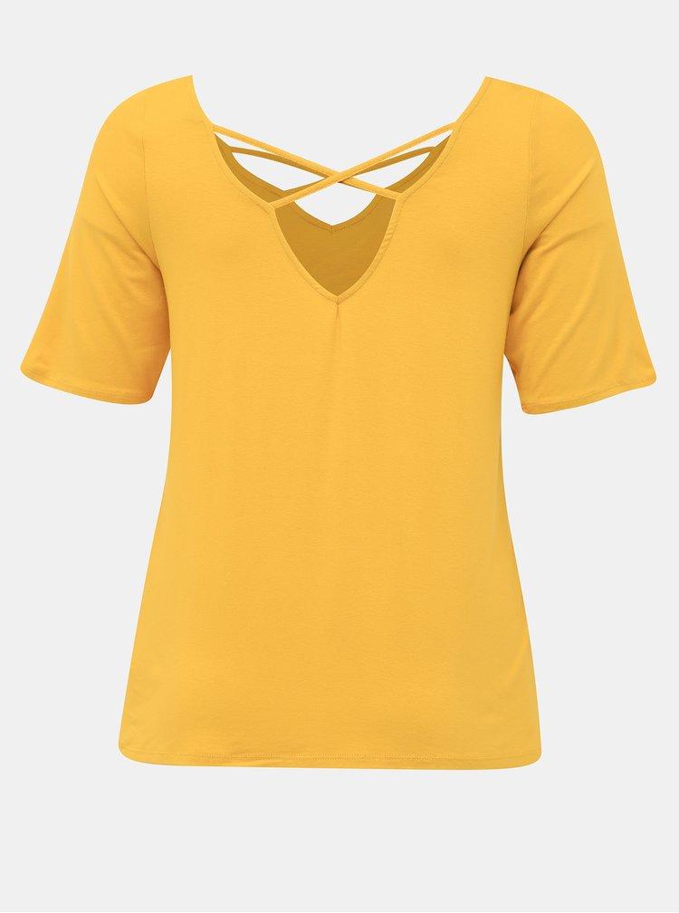 Hořčicové tričko s průstřihy Dorothy Perkins Curve