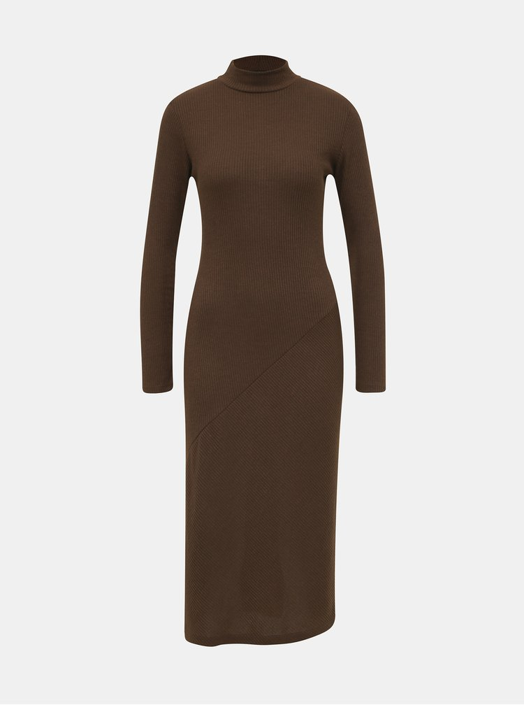 Hnědé svetrové midi šaty Dorothy Perkins
