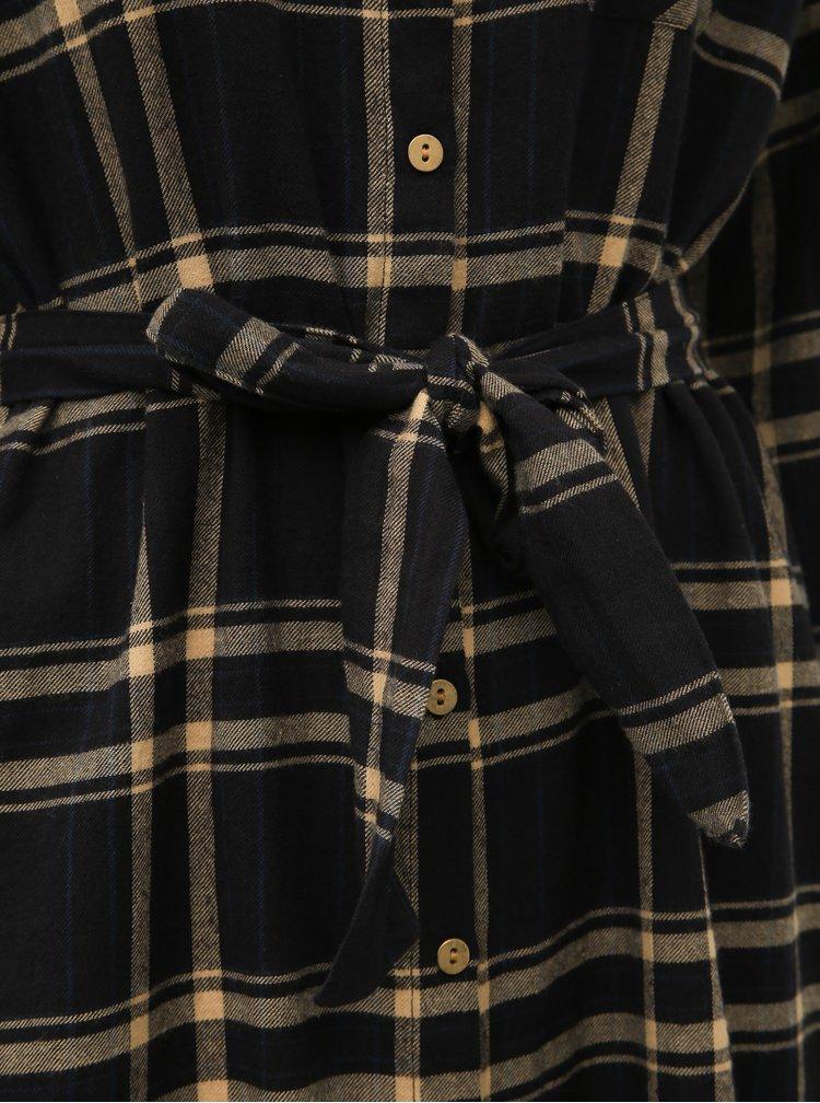 Čierne kockované košeľové šaty Noisy May Erik