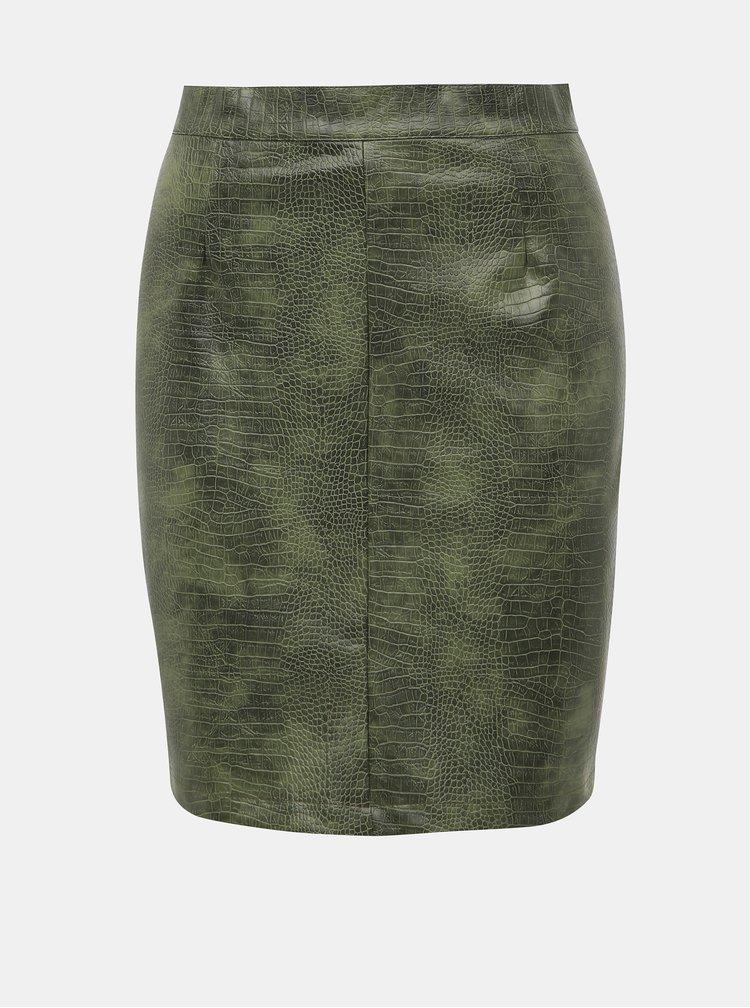 Zelená koženková sukně s hadím vzorem Noisy May Missy