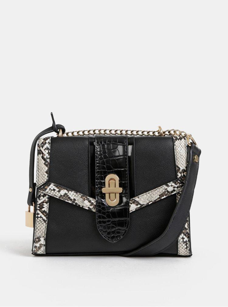 Černá crossbody kabelka s hadím vzorem Dorothy Perkins