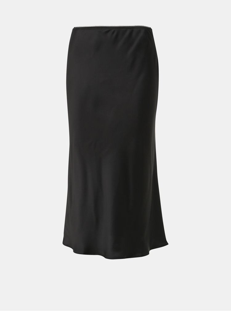 Čierna saténová midi sukňa Jacqueline de Yong Perfect