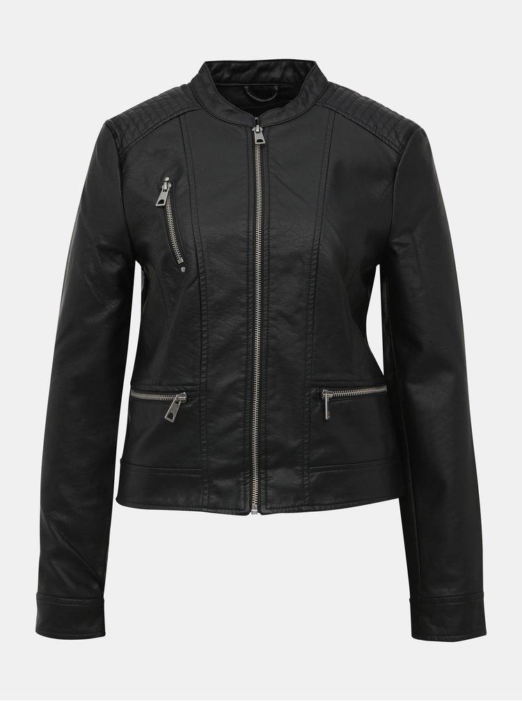 Černá koženková bunda VERO MODA Favo