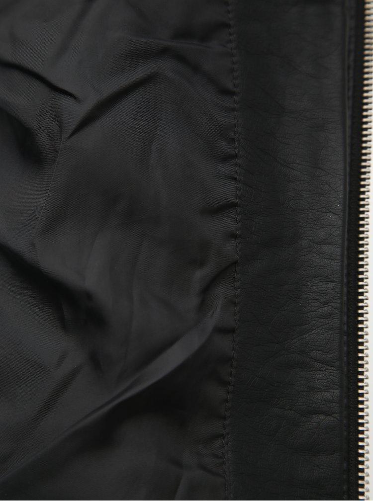 Čierna koženková bunda VERO MODA Favo