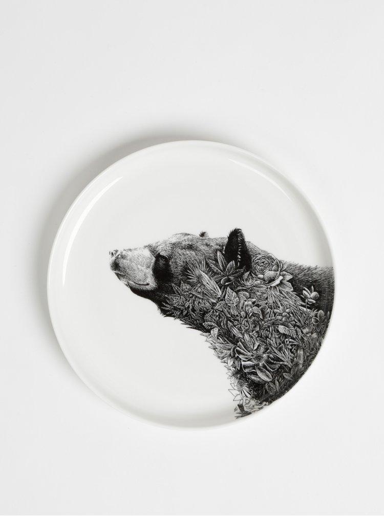 Biely porcelánový tanier s motívom medveďa Maxwell & Williams