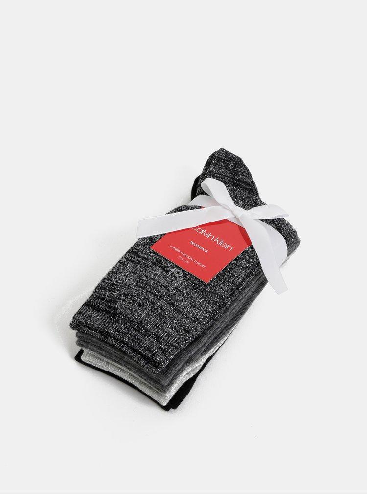 Sada štyroch párov dámskych trblietavých ponožiek v šedej a čiernej farbe Calvin Klein Jeans