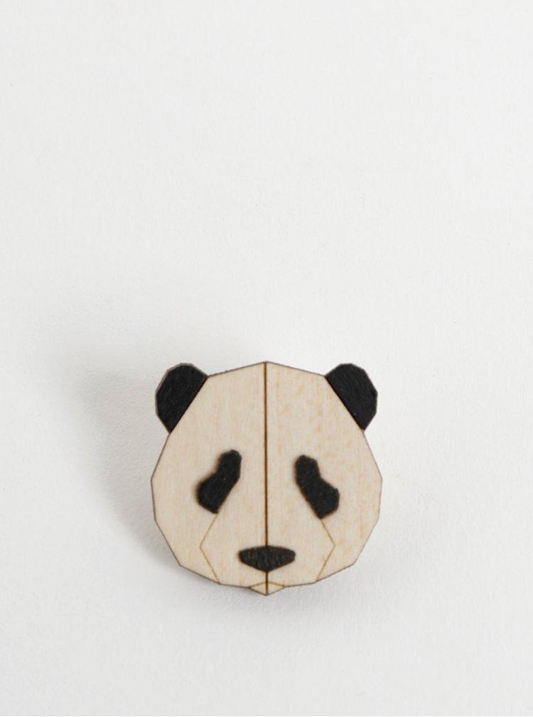 Dřevěná brož ve tvaru pandy BeWooden