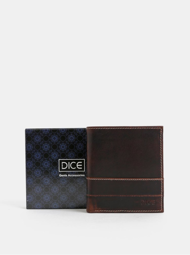Tmavohnedá kožená peňaženka Dice Moore