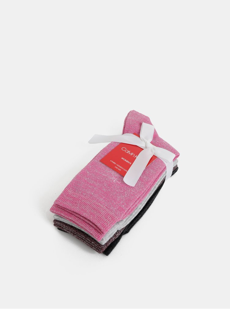 Sada štyroch párov dámskych trblietavých ponožiek v šedej, rúžovej a vínovej farbe Calvin Klein Jeans