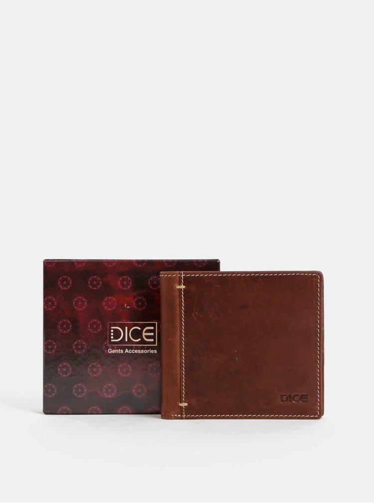 Hnědá kožená peněženka Dice Morris
