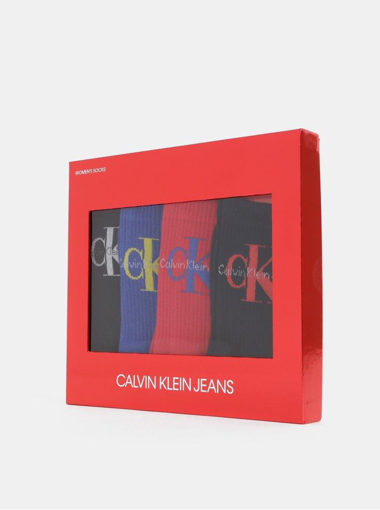 Sada štyroch párov dámskych ponožiek v čiernej, modrej a červenej farbe Calvin Klein Jeans