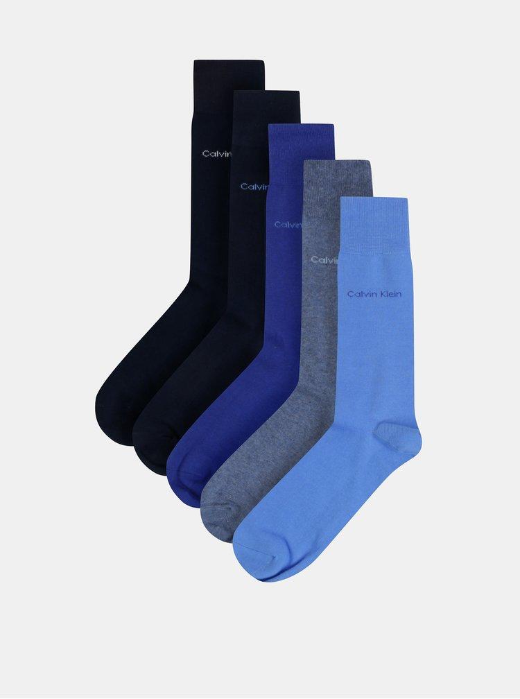 Sada pěti párů pánských modrých ponožek Calvin Klein Jeans