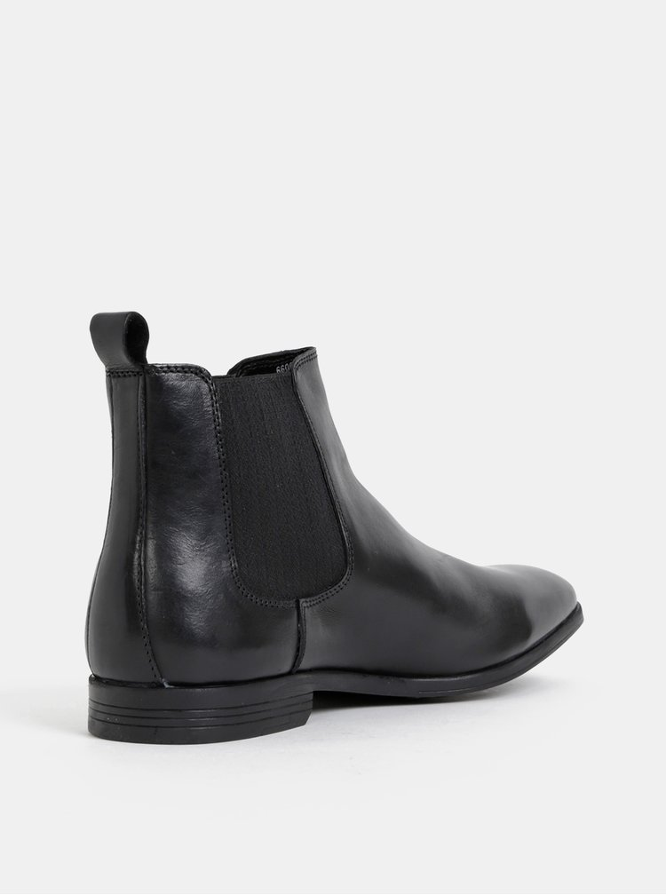 Čierne kožené chelsea topánky Burton Menswear London