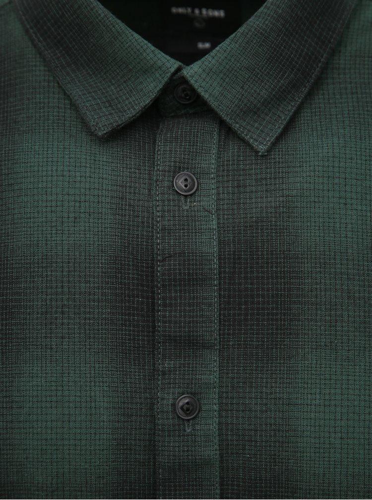 Tmavě zelená kostkovaná slim fit košile ONLY & SONS Ewan