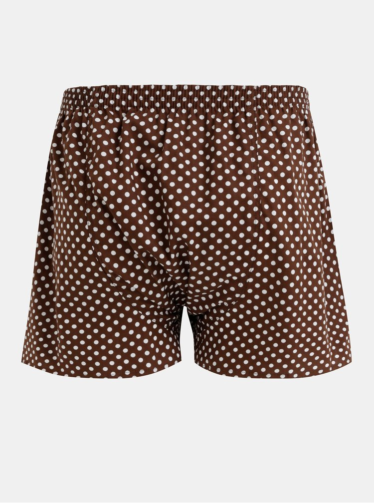 Hnedé pánske bodkované trenýrky El.Ka Underwear