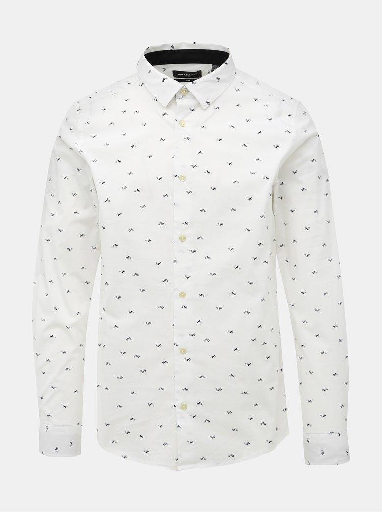 Bílá vzorovaná slim fit košile ONLY & SONS Farso