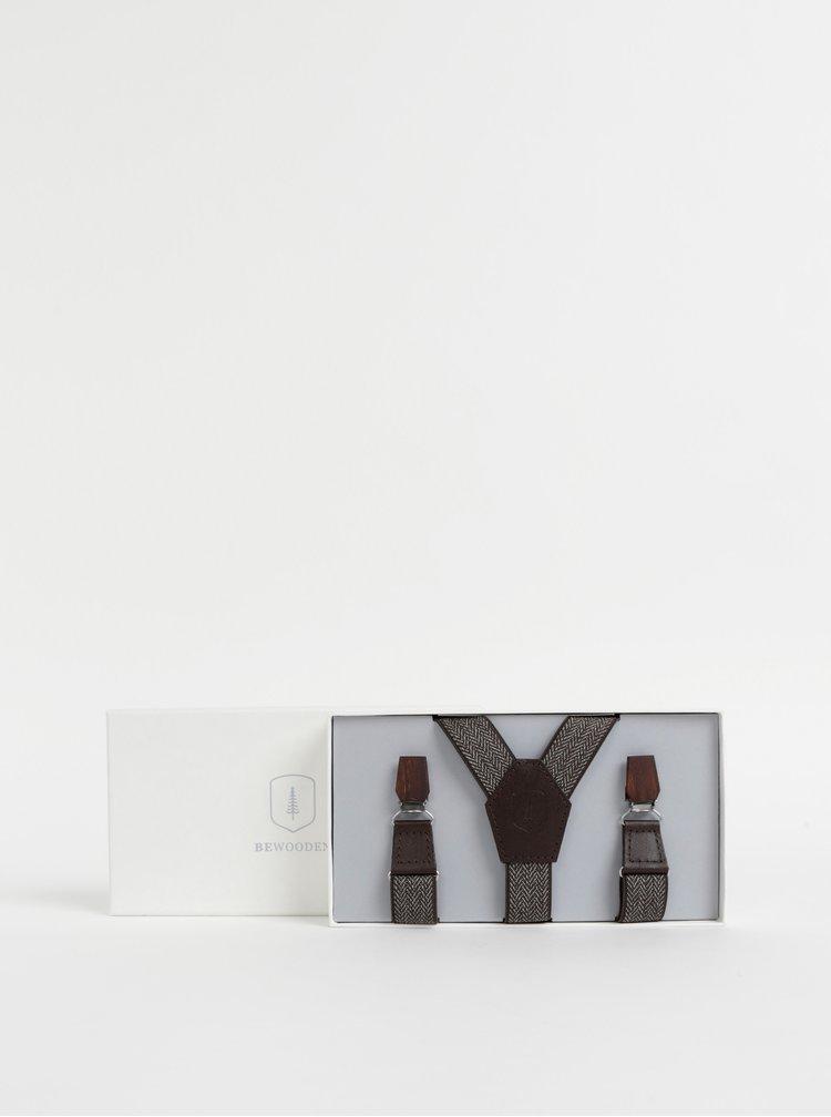 Hnědé vzorované kšandy s koženými a dřevěnými detaily BeWooden