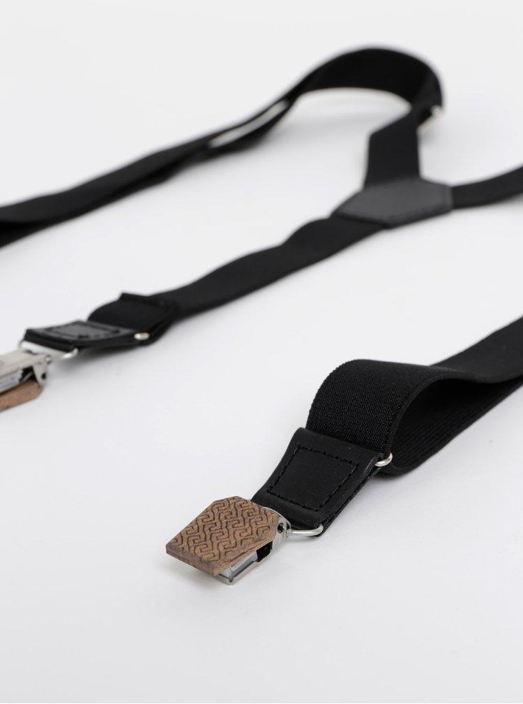 Černé kšandy s koženými a dřevěnými detaily BeWooden