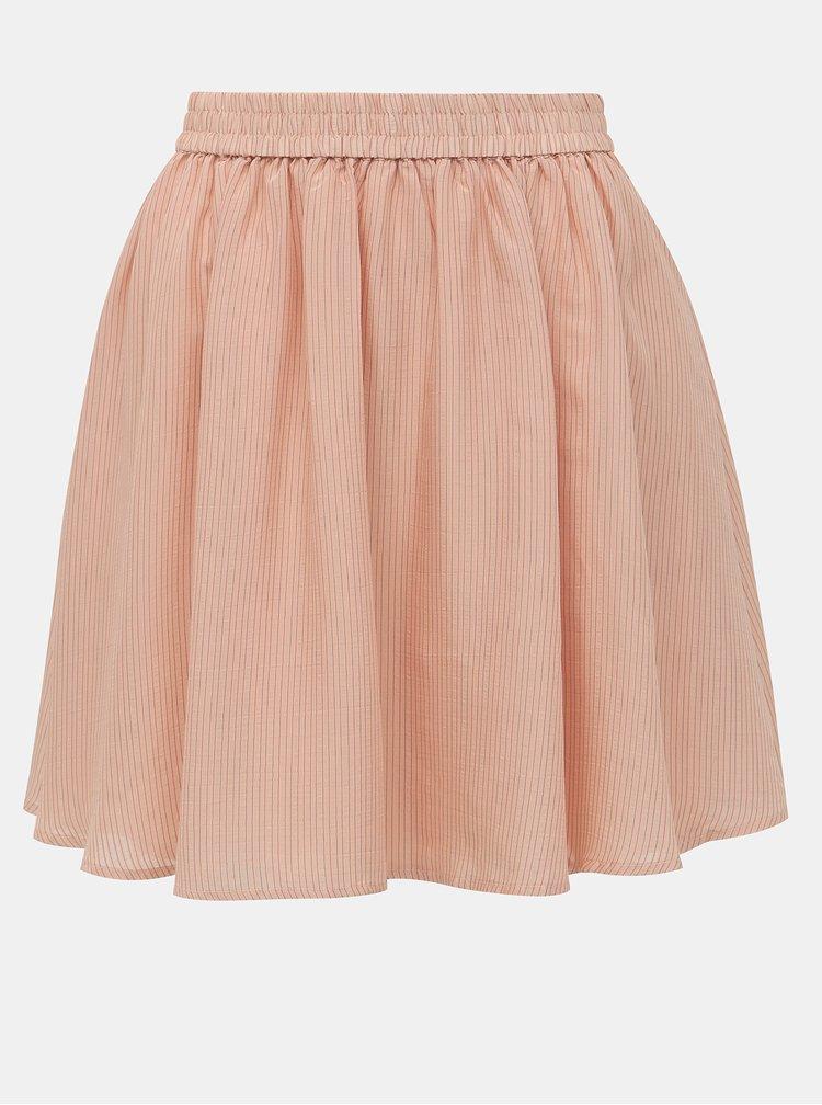 Svetloružová pruhovaná sukňa VILA Pace