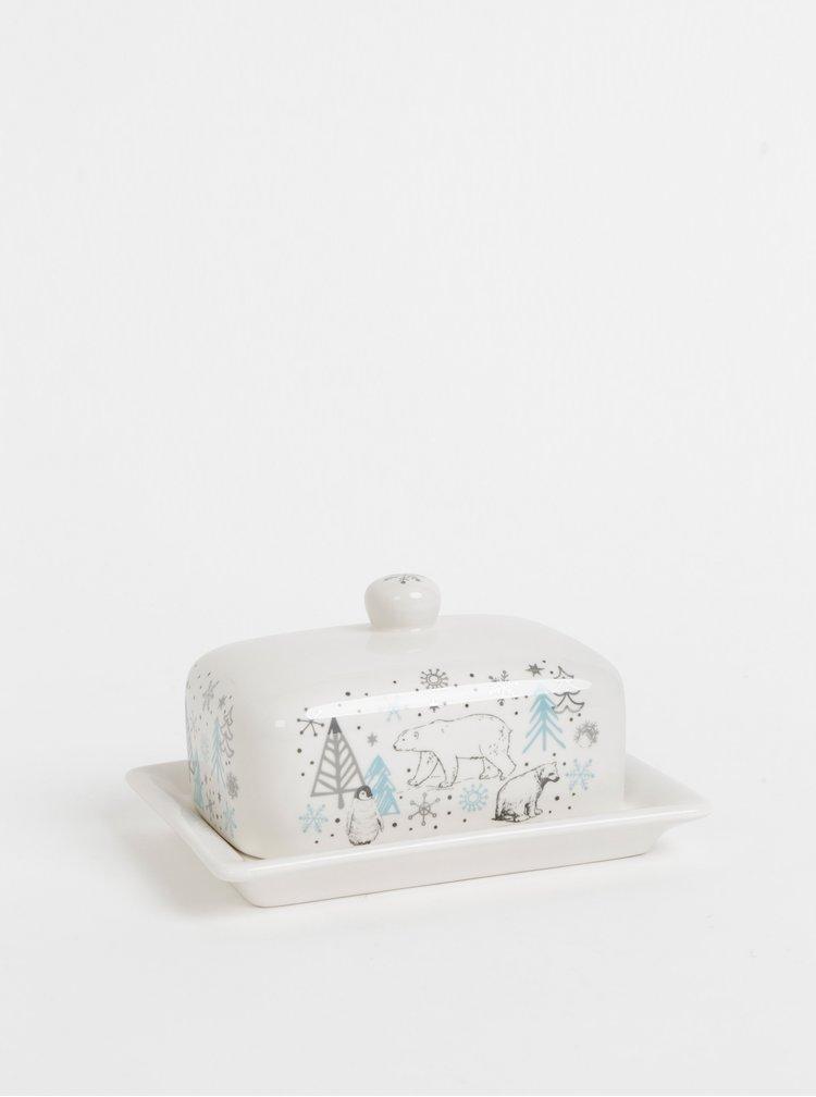 Bílá dóza na máslo s vánočním motivem Cooksmart