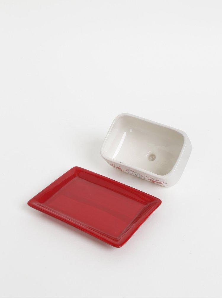 Červeno-bílá dóza na máslo s vánočním motivem Cooksmart