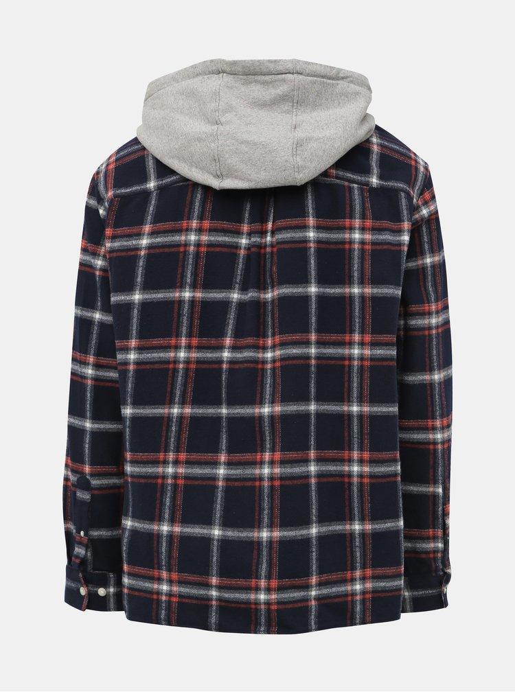 Tmavomodrá kockovaná košeľa s kapucou Jack & Jones Jasper