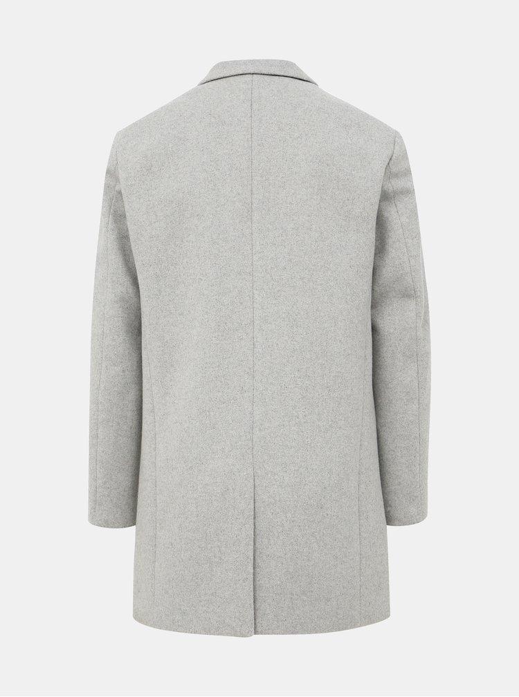 Svetlošedý kabát s prímesou vlny Jack & Jones Moulder
