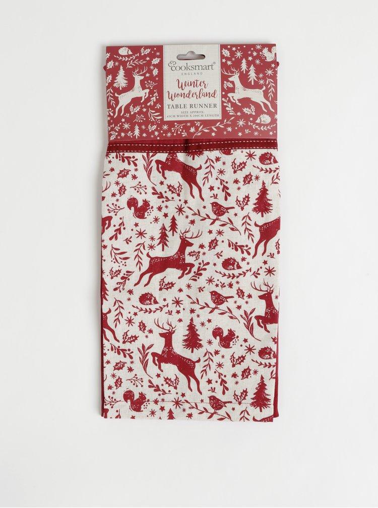 Červený běhoun s vánočním motivem Cooksmart