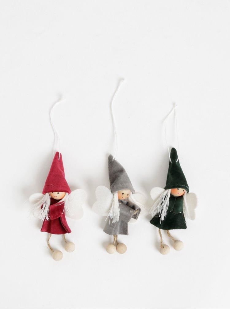 Sada troch vianočných škriatkov v šedej, vínovej a zelenej farbe Sass & Belle