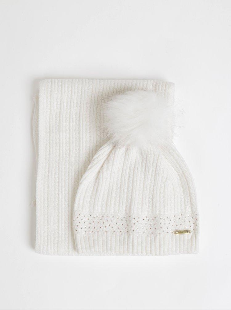 Sada bílé čepice a šály Something Special