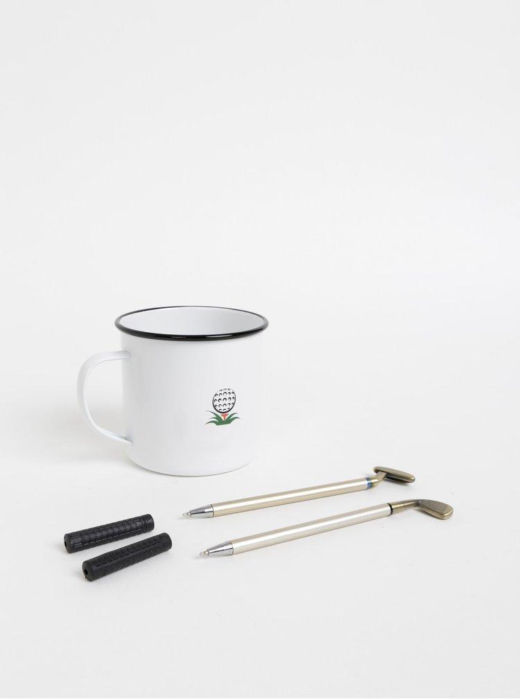 Sada dvoch pier v tvare golfových palíc a plecháčku v bielej farbe Portland 250 ml