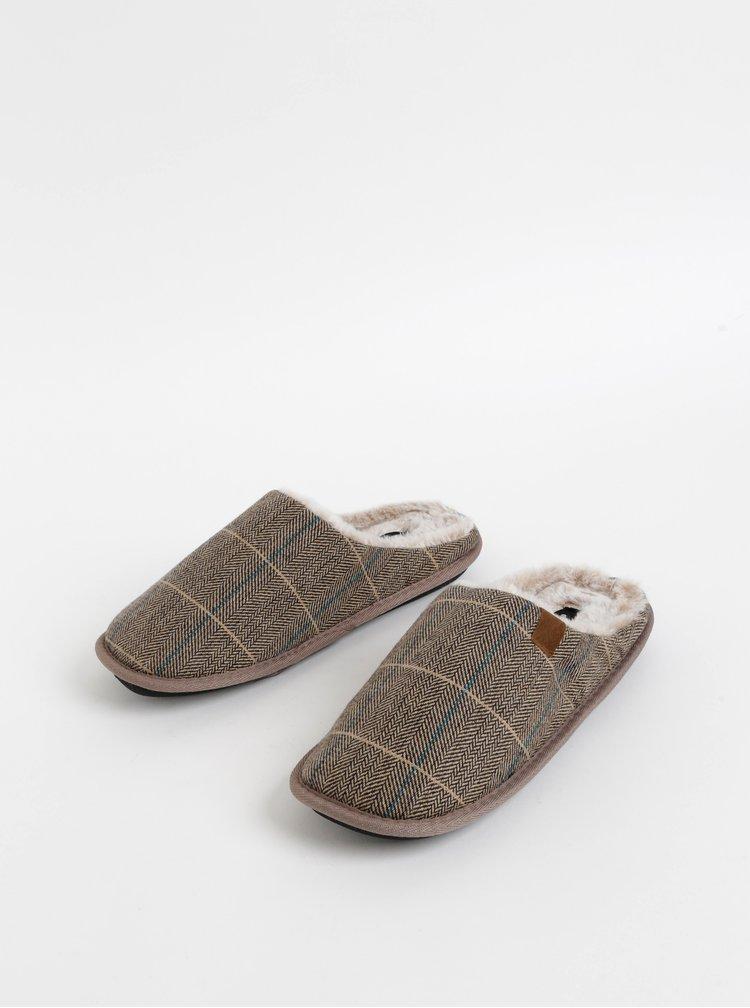 Světle hnědé pánské kostkované papuče Portland