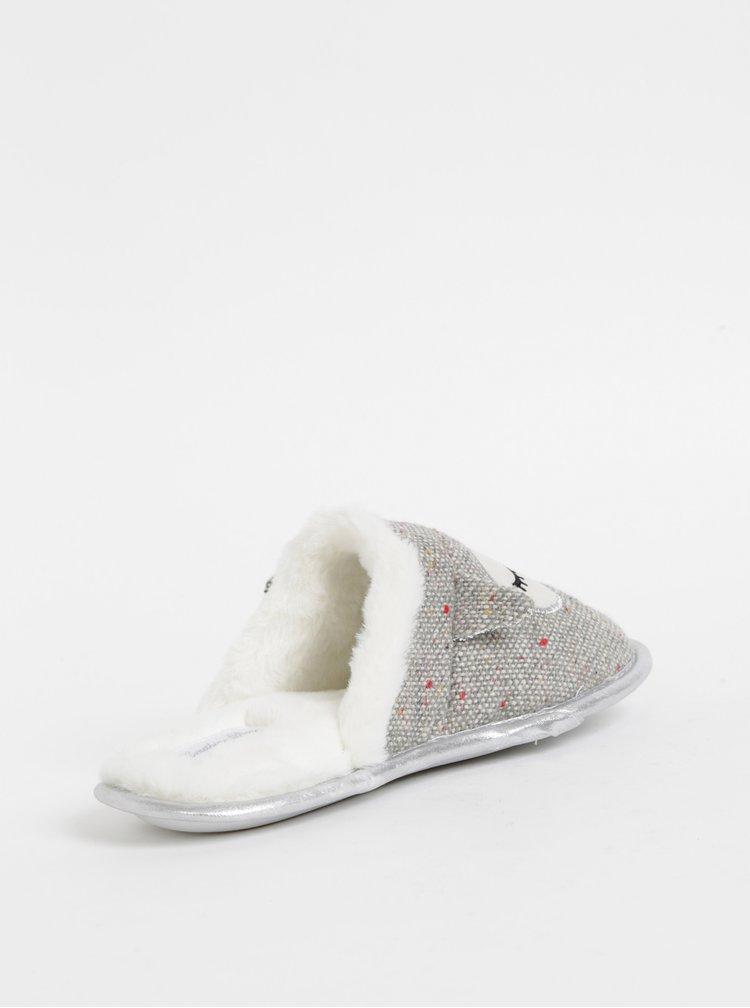 Šedé papuče s motivem sovy Something Special