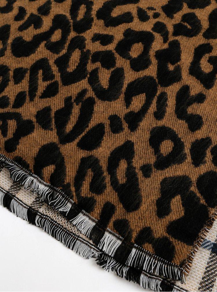 Béžovo-hnědá šála s leopardím vzorem Something Special