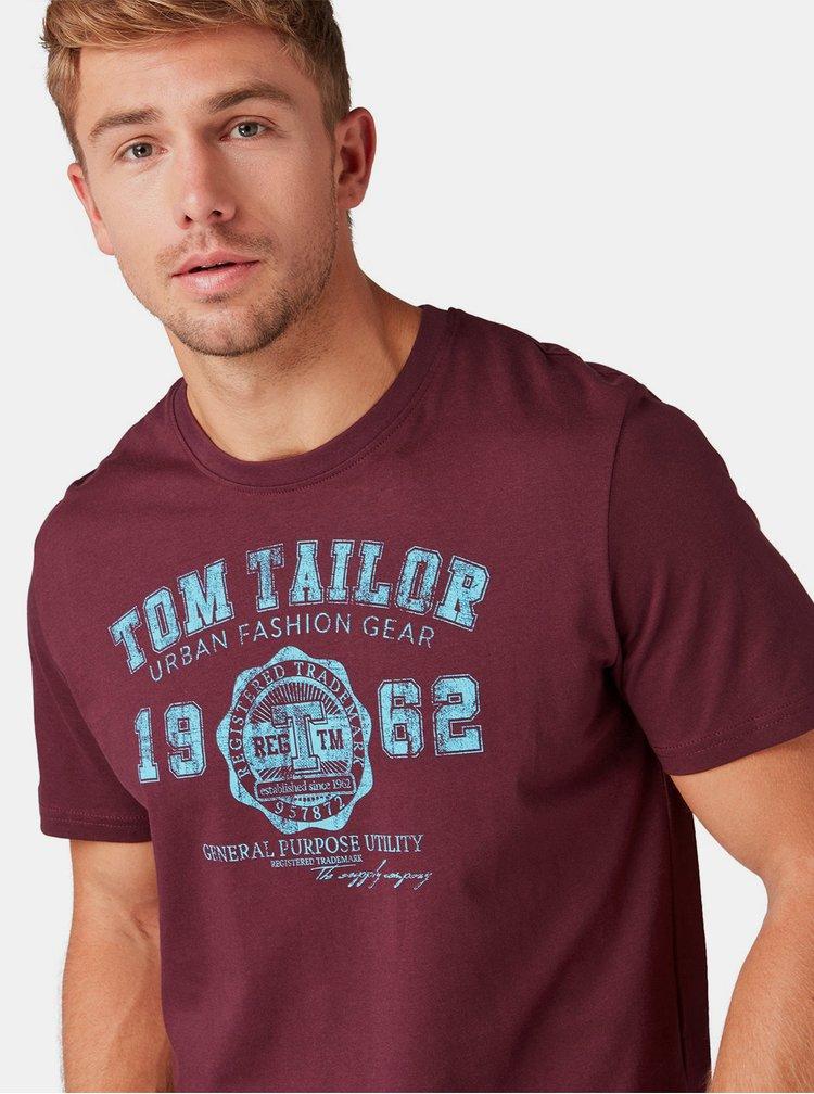 Vínové pánske tričko Tom Tailor