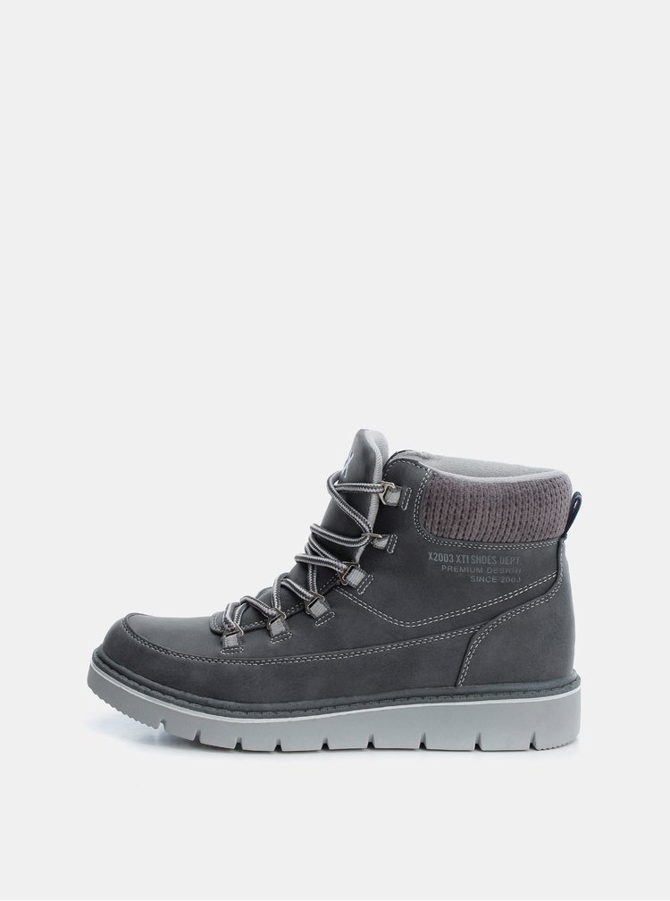 Šedé dámske zimné členkové topánky Xti