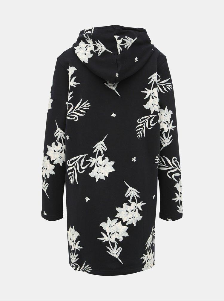 Tmavomodré kvetované mikinové šaty s kapucou Roxy Snow Down