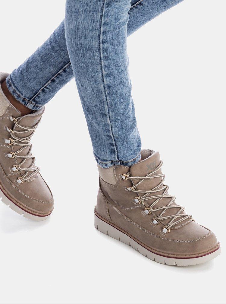 Béžové dámské zimní kotníkové boty Xti