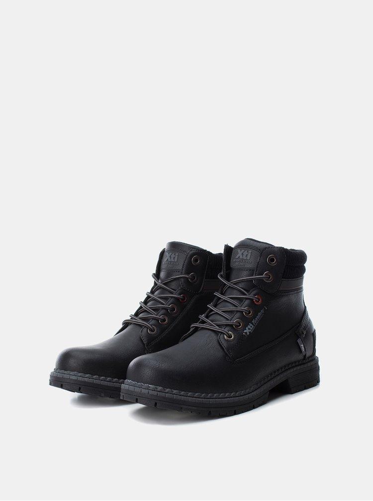 Černé pánské kotníkové šněrovací boty Xti