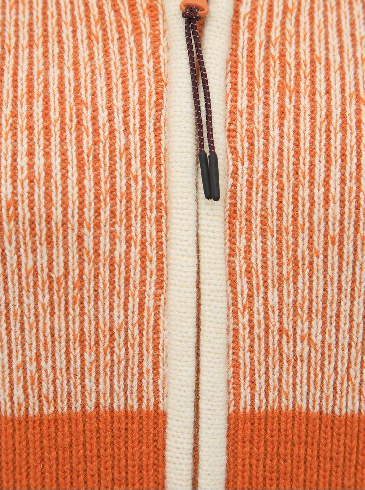 Béžovo-oranžový kardigan s příměsí vlny Kari Traa Himle