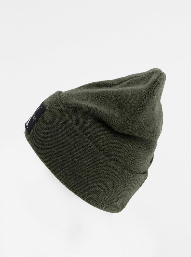 Tmavě zelená čepice s příměsí vlny a kašmíru Calvin Klein Jeans