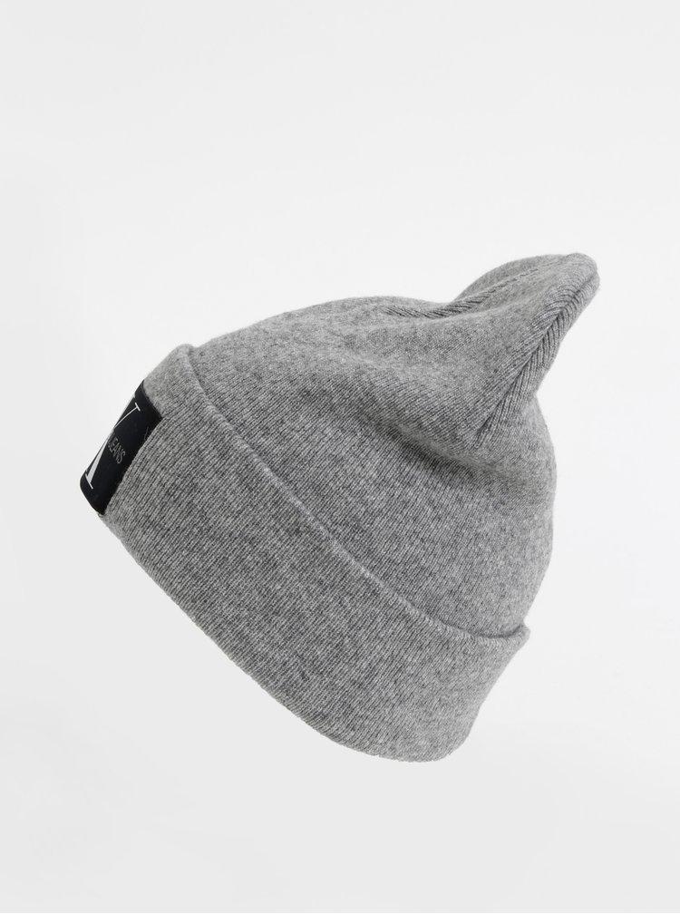 Šedá čepice s příměsí vlny a kašmíru Calvin Klein Jeans