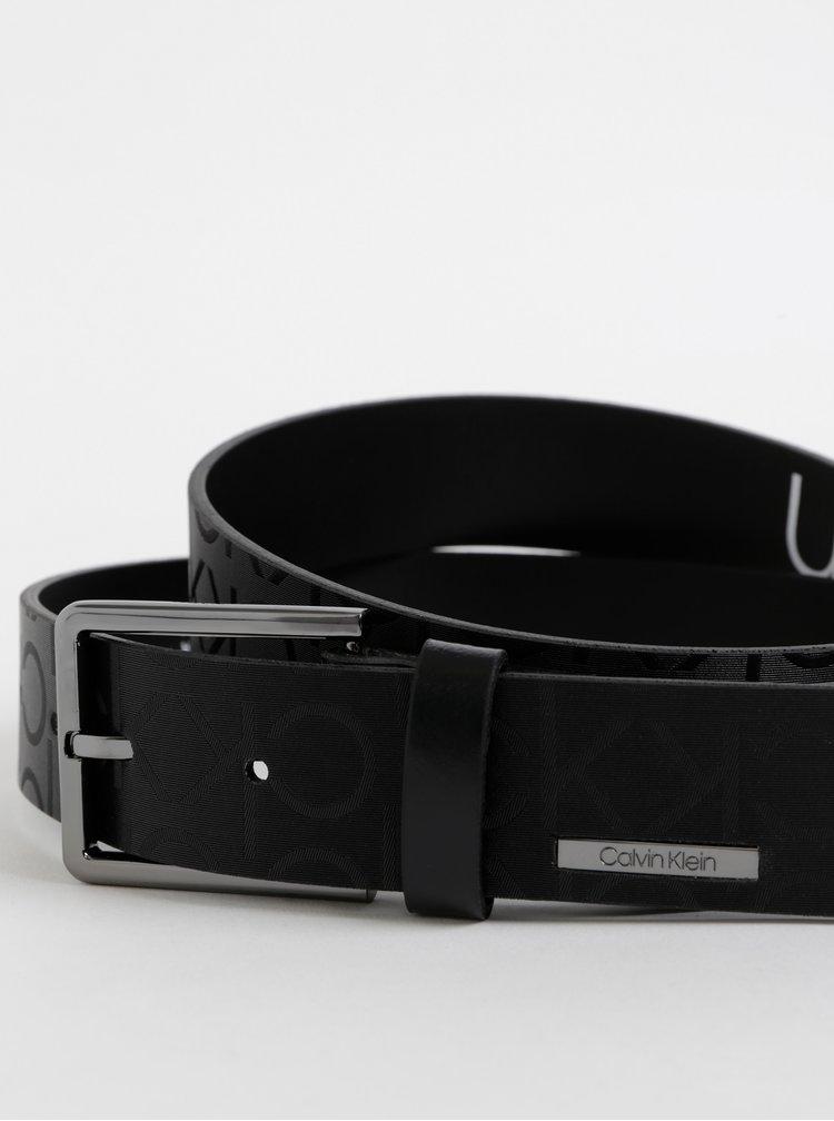 Čierny pánsky vzorovaný kožený opasok Calvin Klein Jeans