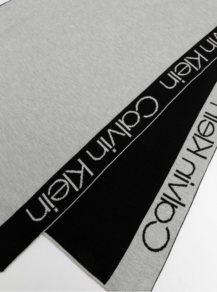 Čierno-šedý šál Calvin Klein Jeans