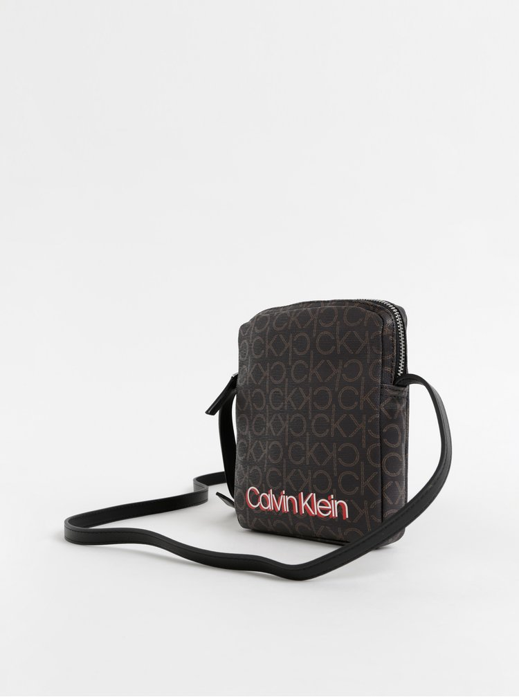 Tmavě hnědá vzorovaná crossbody kabelka Calvin Klein Jeans